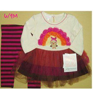 6/9M Baby Girls 2 pc Tutu Turkey Top Bottoms